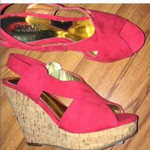 Carlos pink wedged heel